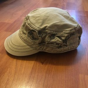 H&M Army-style Green Hat w/ Embroidered Detail